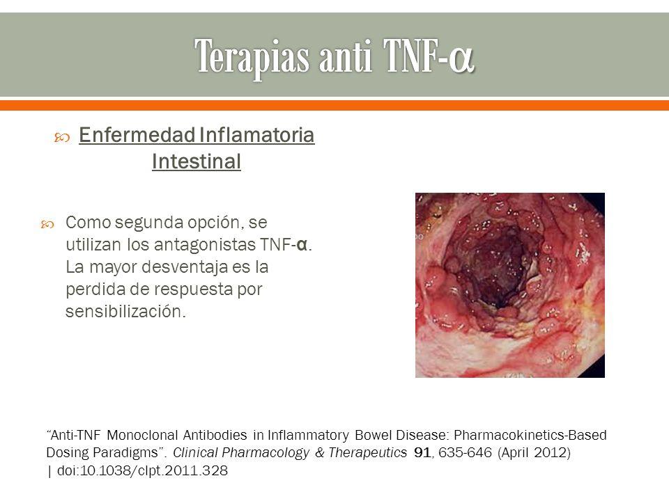 Enfermedad Inflamatoria Intestinal Como segunda opción, se utilizan los antagonistas TNF- α. La mayor desventaja es la perdida de respuesta por sensib