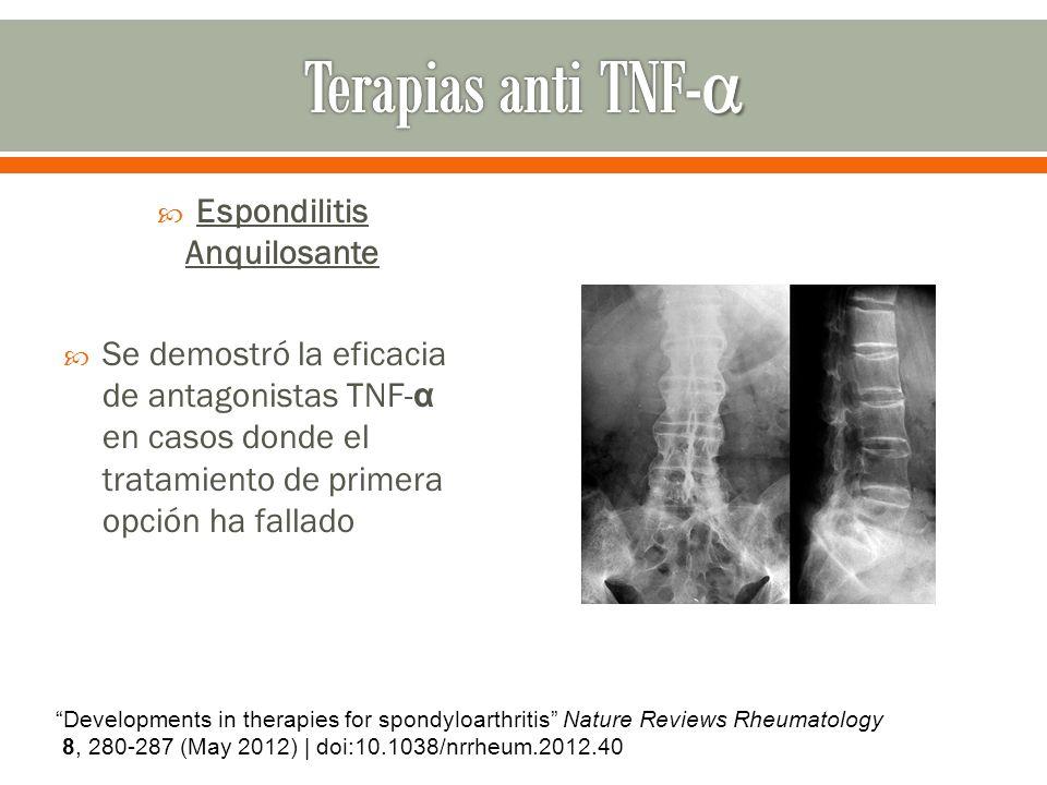 Espondilitis Anquilosante Se demostró la eficacia de antagonistas TNF- α en casos donde el tratamiento de primera opción ha fallado Developments in th