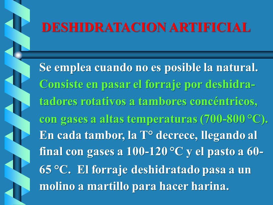 DESHIDRATACION ARTIFICIAL Se emplea cuando no es posible la natural. Se emplea cuando no es posible la natural. Consiste en pasar el forraje por deshi