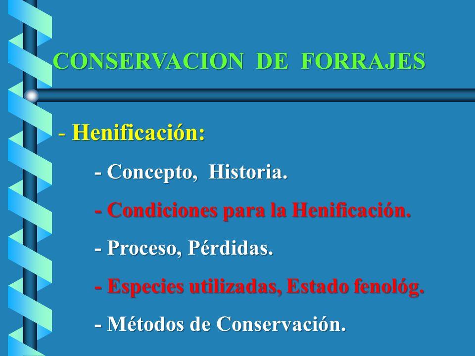 CONSERVACION DE FORRAJES - Henificación: - Henificación: - Concepto, Historia. - Concepto, Historia. - Condiciones para la Henificación. - Condiciones