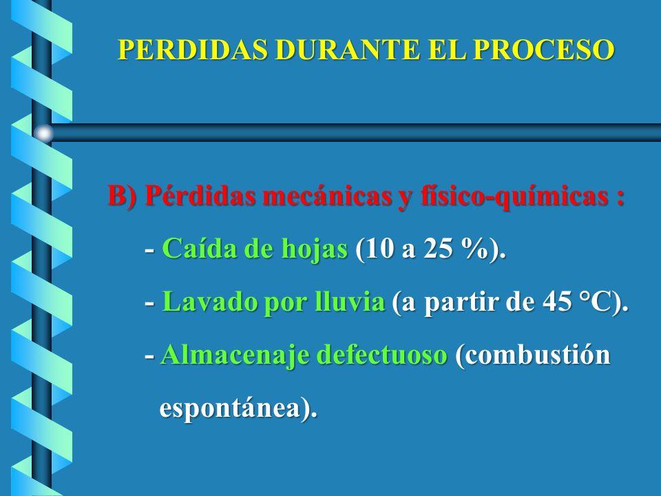 PERDIDAS DURANTE EL PROCESO B) Pérdidas mecánicas y físico-químicas : B) Pérdidas mecánicas y físico-químicas : - Caída de hojas (10 a 25 %). - Caída