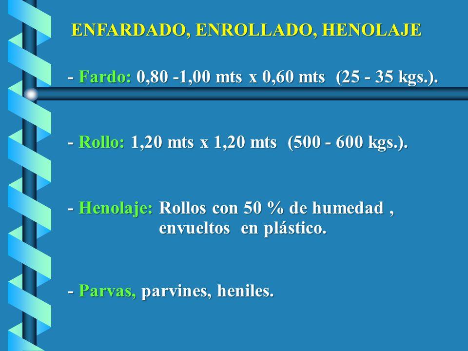 ENFARDADO, ENROLLADO, HENOLAJE - Fardo: 0,80 -1,00 mts x 0,60 mts (25 - 35 kgs.). - Fardo: 0,80 -1,00 mts x 0,60 mts (25 - 35 kgs.). - Rollo: 1,20 mts