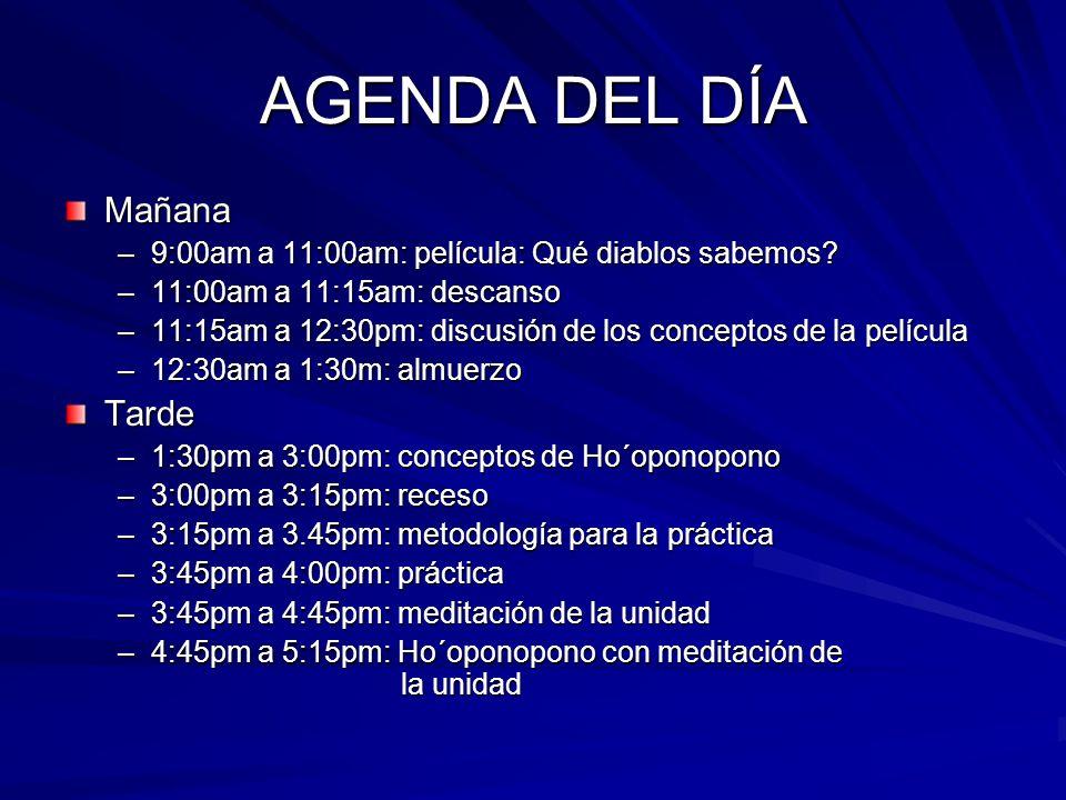 AGENDA DEL DÍA Mañana –9:00am a 11:00am: película: Qué diablos sabemos? –11:00am a 11:15am: descanso –11:15am a 12:30pm: discusión de los conceptos de