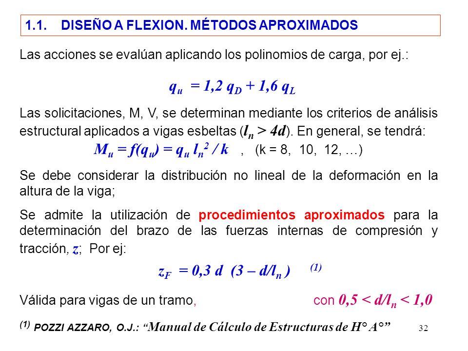 32 1.1. DISEÑO A FLEXION. MÉTODOS APROXIMADOS Las acciones se evalúan aplicando los polinomios de carga, por ej.: q u = 1,2 q D + 1,6 q L Las solicita