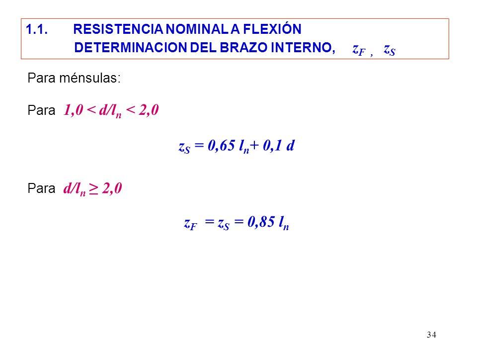 34 z S = 0,65 l n + 0,1 d Para ménsulas: Para 1,0 < d/l n < 2,0 Para d/l n 2,0 z F = z S = 0,85 l n 1.1. RESISTENCIA NOMINAL A FLEXIÓN DETERMINACION D