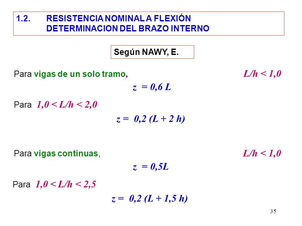 35 Para vigas de un solo tramo, L/h < 1,0 z = 0,2 (L + 2 h) z = 0,6 L Para 1,0 < L/h < 2,0 Según NAWY, E. 1.2. RESISTENCIA NOMINAL A FLEXIÓN DETERMINA