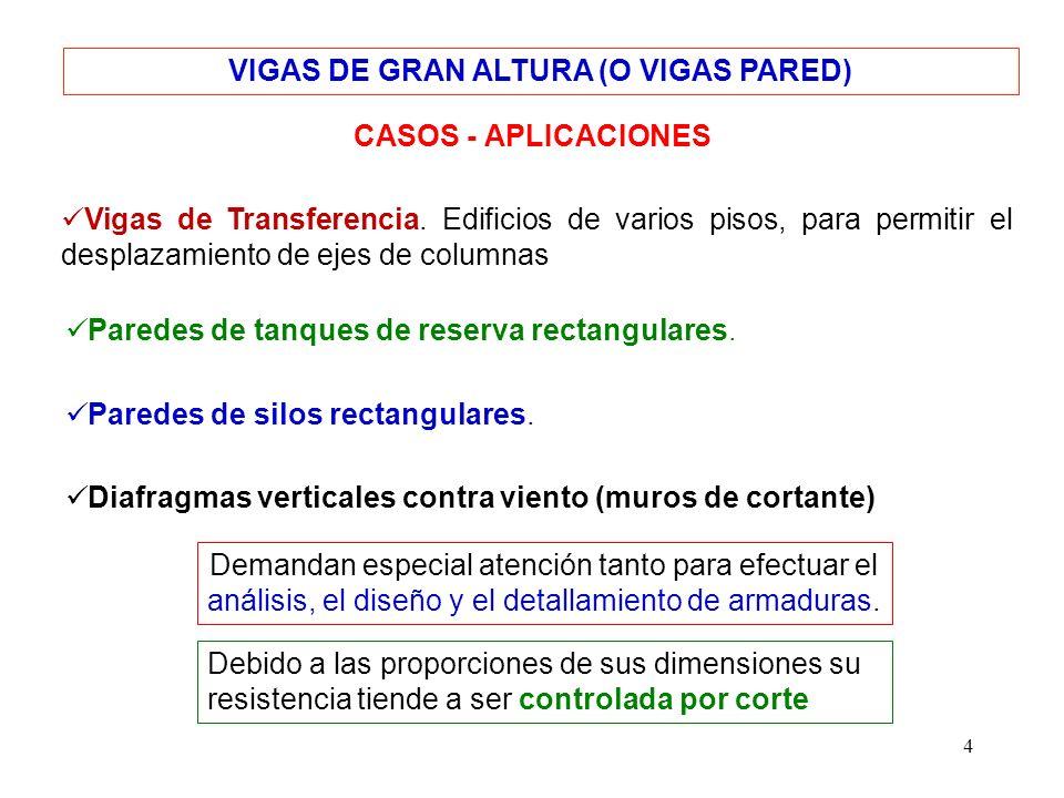 4 VIGAS DE GRAN ALTURA (O VIGAS PARED) CASOS - APLICACIONES Vigas de Transferencia. Edificios de varios pisos, para permitir el desplazamiento de ejes