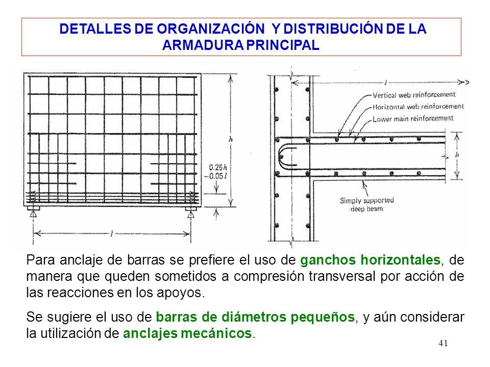 41 DETALLES DE ORGANIZACIÓN Y DISTRIBUCIÓN DE LA ARMADURA PRINCIPAL Para anclaje de barras se prefiere el uso de ganchos horizontales, de manera que q