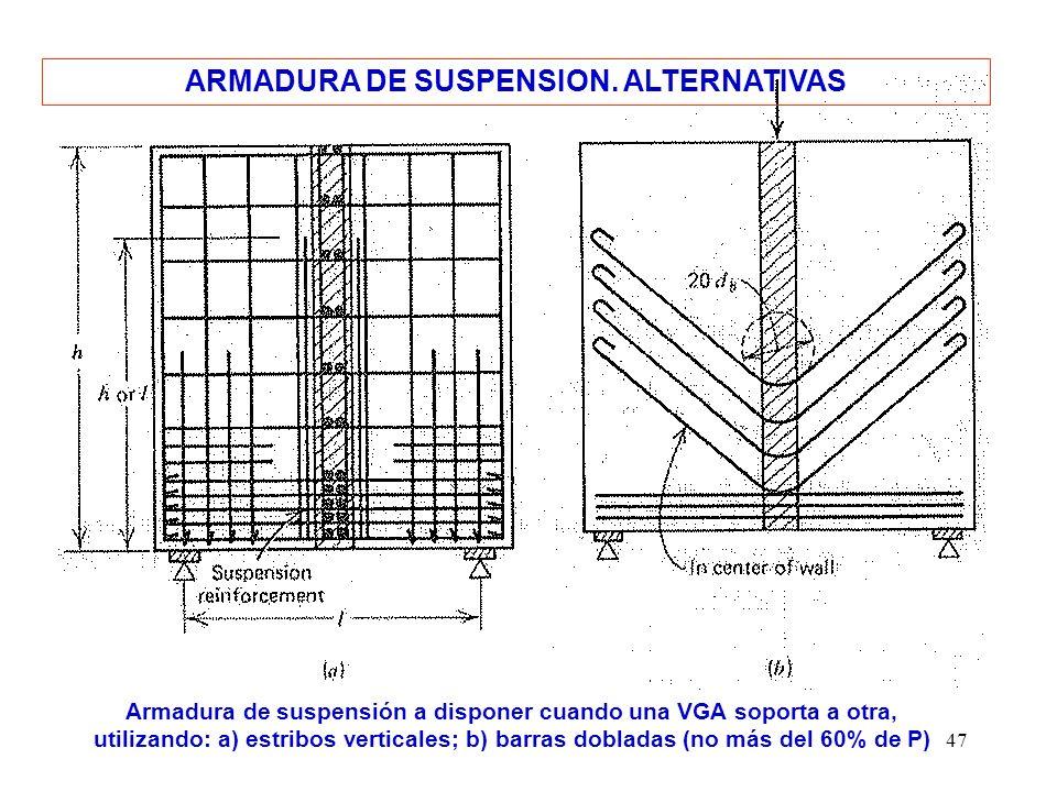 47 ARMADURA DE SUSPENSION. ALTERNATIVAS Armadura de suspensión a disponer cuando una VGA soporta a otra, utilizando: a) estribos verticales; b) barras