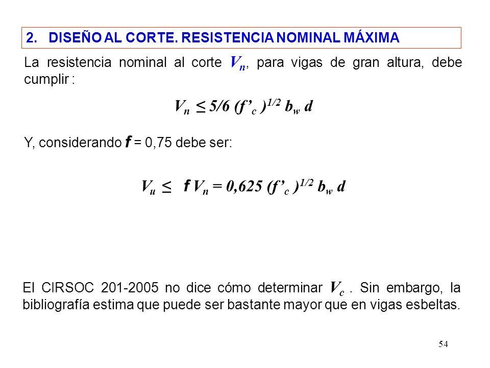 54 2. DISEÑO AL CORTE. RESISTENCIA NOMINAL MÁXIMA La resistencia nominal al corte V n, para vigas de gran altura, debe cumplir : V n 5/6 (f c ) 1/2 b