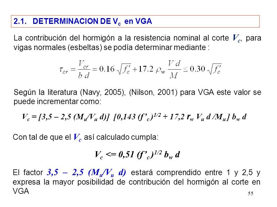 55 2.1. DETERMINACION DE V c en VGA La contribución del hormigón a la resistencia nominal al corte V c, para vigas normales (esbeltas) se podía determ