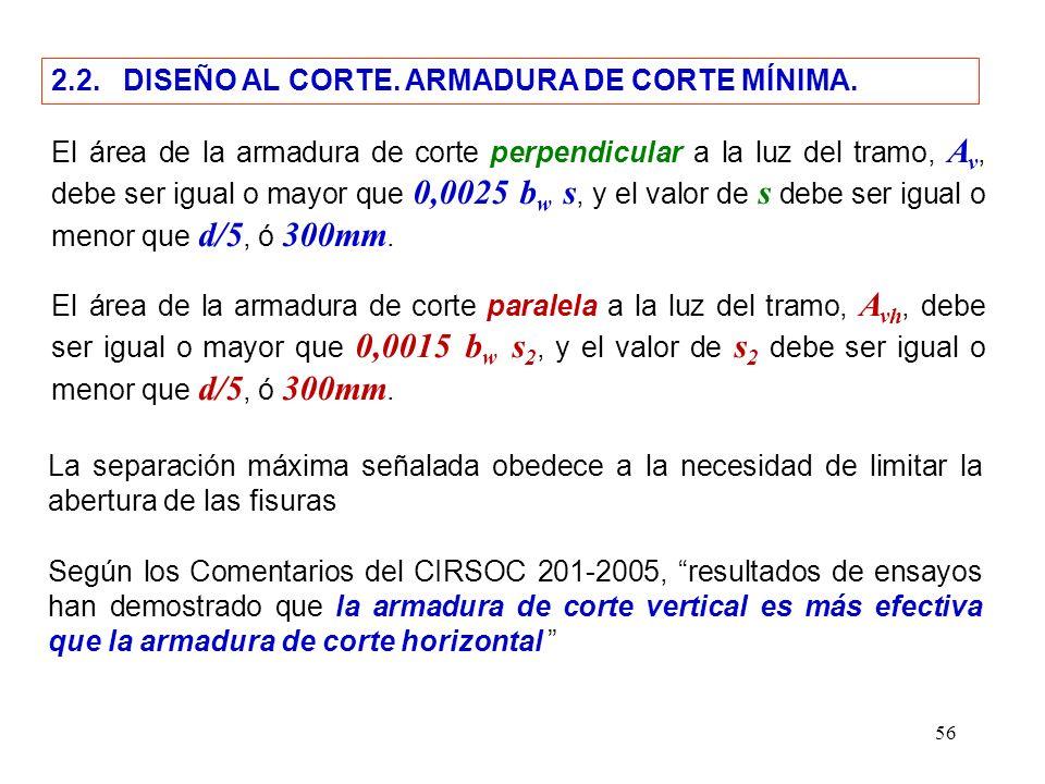 56 2.2. DISEÑO AL CORTE. ARMADURA DE CORTE MÍNIMA. El área de la armadura de corte perpendicular a la luz del tramo, A v, debe ser igual o mayor que 0