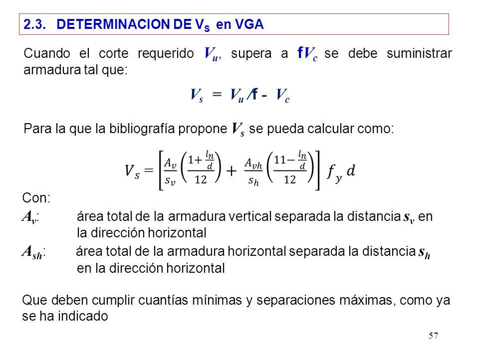 57 2.3. DETERMINACION DE V S en VGA Cuando el corte requerido V u, supera a f V c se debe suministrar armadura tal que: Para la que la bibliografía pr