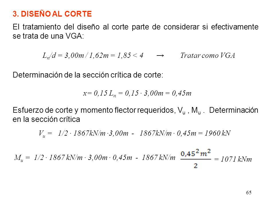 65 3. DISEÑO AL CORTE El tratamiento del diseño al corte parte de considerar si efectivamente se trata de una VGA: L n /d = 3,00m / 1,62m = 1,85 < 4 T