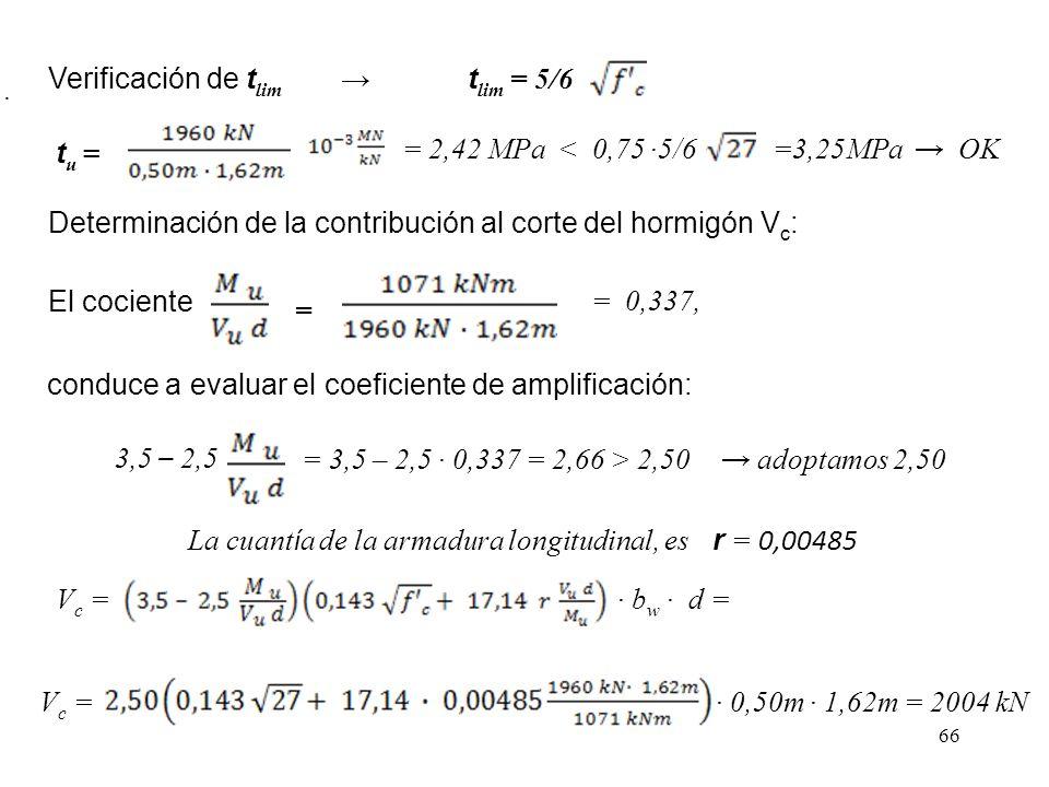 66 Verificación de t lim t lim = 5/6 t u = = 2,42 MPa < 0,75 5/6=3,25MPa OK Determinación de la contribución al corte del hormigón V c : El cociente =