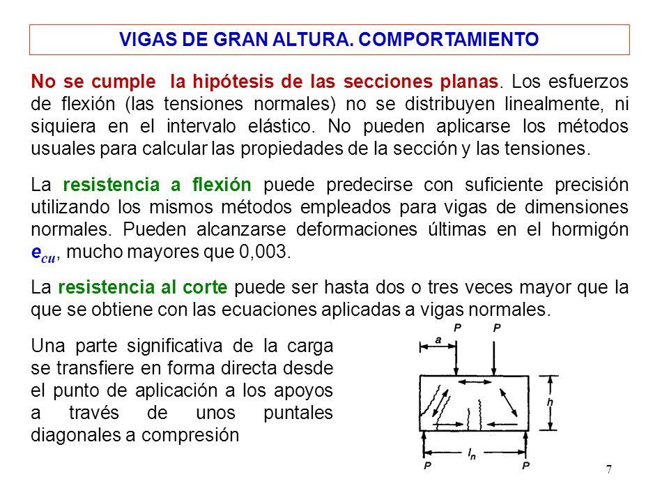 7 VIGAS DE GRAN ALTURA. COMPORTAMIENTO No se cumple la hipótesis de las secciones planas. Los esfuerzos de flexión (las tensiones normales) no se dist