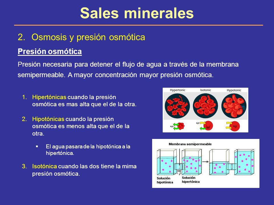 Sales minerales 2.Osmosis y presión osmótica Presión osmótica Presión necesaria para detener el flujo de agua a través de la membrana semipermeable. A