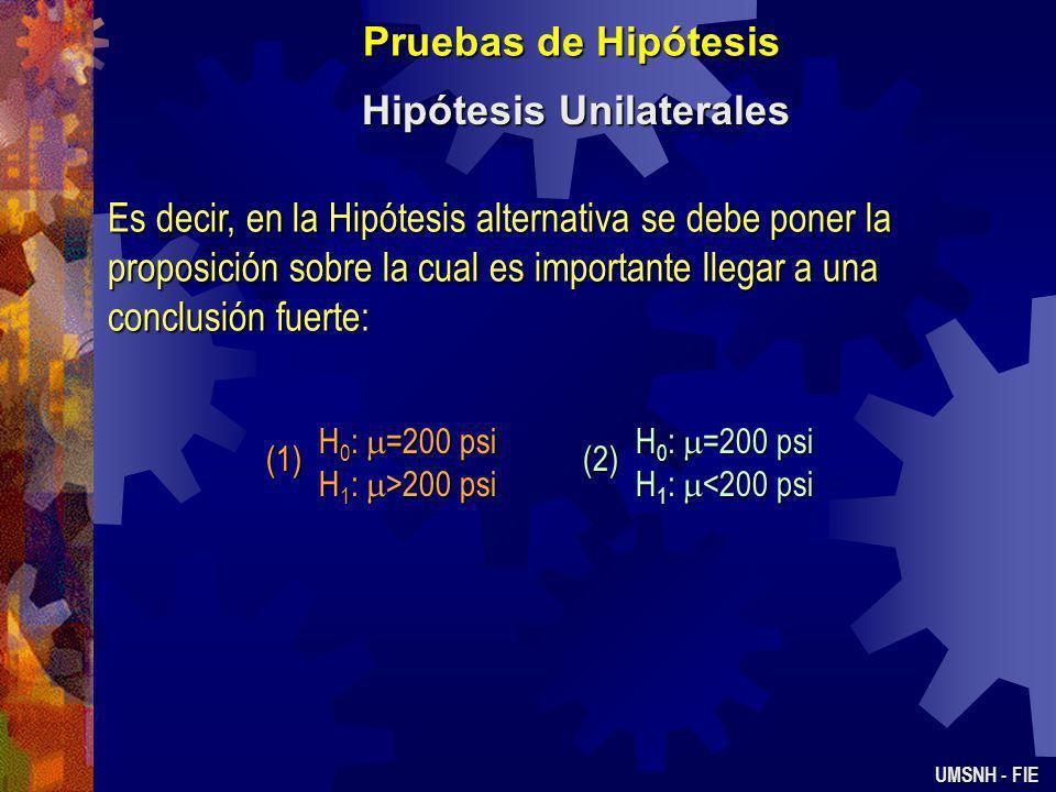 Pruebas de Hipótesis Hipótesis Unilaterales UMSNH - FIE Ejemplo: Un embotellador de refresco desea estar seguro de que las botellas que usa tienen en