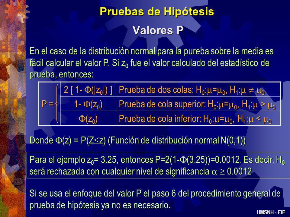 Pruebas de Hipótesis Valores P UMSNH - FIE Una manera de notificar los resultados de una prueba de hipótesis es establecer si la hipótesis nula fue o