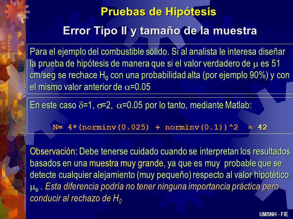 Pruebas de Hipótesis Error Tipo II y tamaño de la muestra UMSNH - FIE Consideremos la hipótesis bilateral H 0 : = 0, H 1 : 0. Si H 0 es falsa y la med
