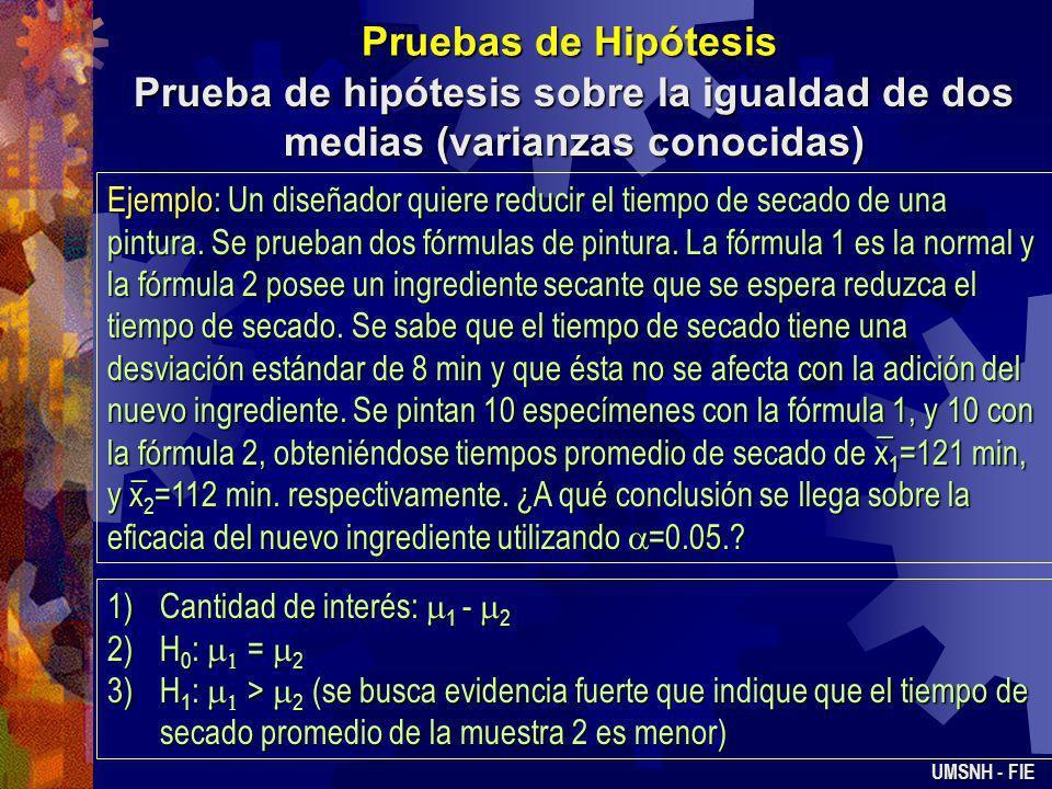 Pruebas de Hipótesis Prueba de hipótesis sobre la igualdad de dos medias (varianzas conocidas) UMSNH - FIE Se tienen dos poblaciones de interés. La pr