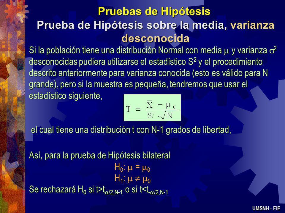 Pruebas de Hipótesis Identificación Causa - Efecto UMSNH - FIE En el ejemplo anterior se supone que fueron asignados de manera aleatoria 10 especímene