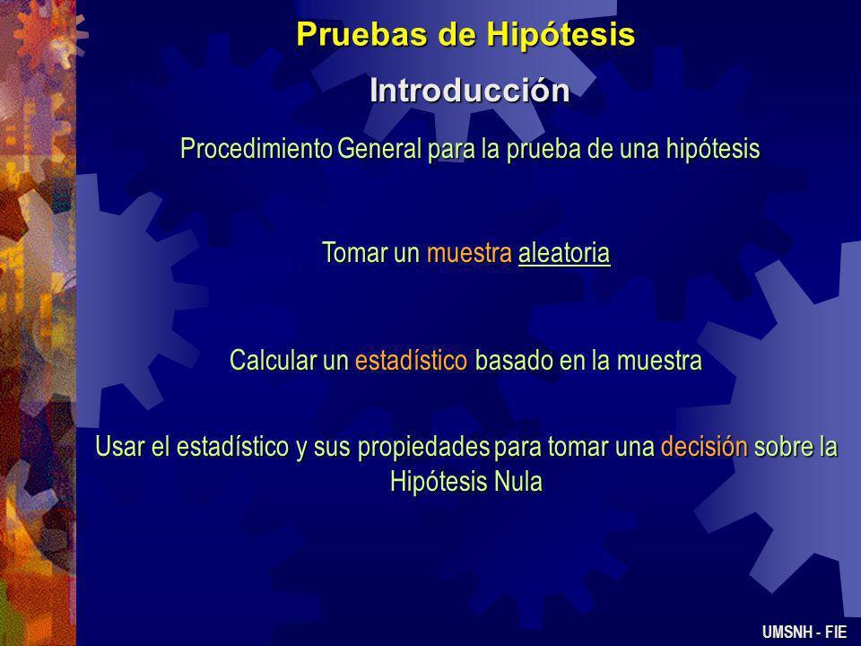 Pruebas de Hipótesis Introducción UMSNH - FIE Procedimiento General para la prueba de una hipótesis Tomar un muestra aleatoria Calcular un estadístico basado en la muestra Usar el estadístico y sus propiedades para tomar una decisión sobre la Hipótesis Nula