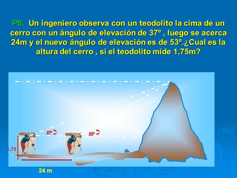 P6. Un ingeniero observa con un teodolito la cima de un cerro con un ángulo de elevación de 37º, luego se acerca 24m y el nuevo ángulo de elevación es