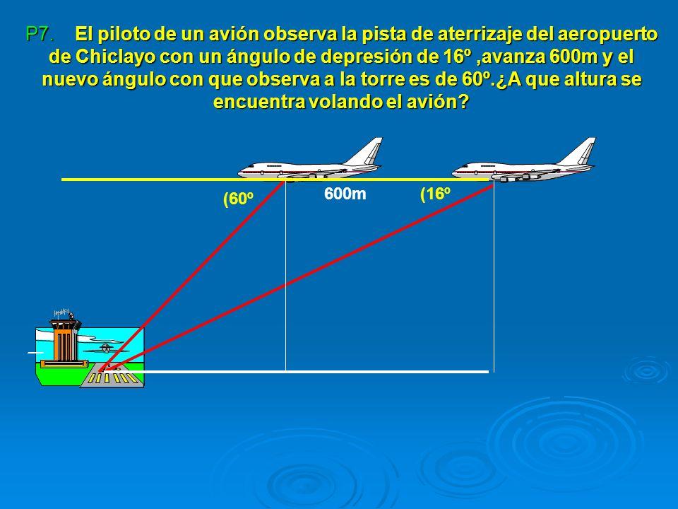 P7. El piloto de un avión observa la pista de aterrizaje del aeropuerto de Chiclayo con un ángulo de depresión de 16º,avanza 600m y el nuevo ángulo co