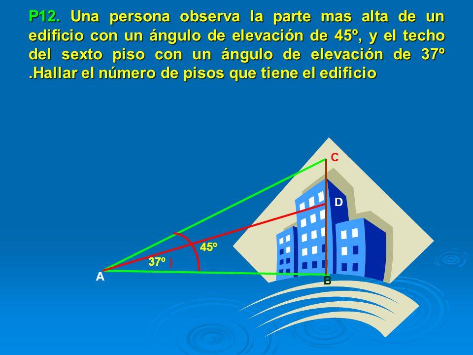 P12. Una persona observa la parte mas alta de un edificio con un ángulo de elevación de 45º, y el techo del sexto piso con un ángulo de elevación de 3