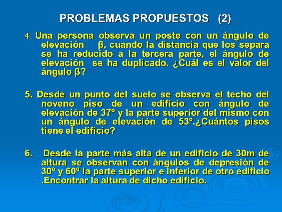 PROBLEMAS PROPUESTOS (2) 4. Una persona observa un poste con un ángulo de elevación β, cuando la distancia que los separa se ha reducido a la tercera