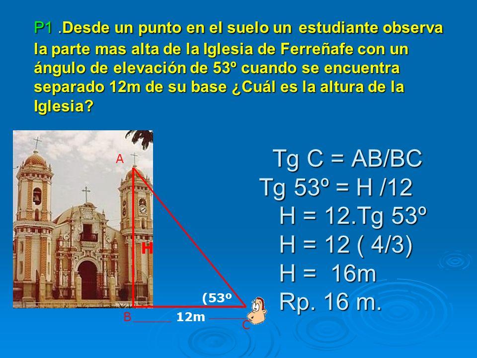 P1.Desde un punto en el suelo un estudiante observa la parte mas alta de la Iglesia de Ferreñafe con un ángulo de elevación de 53º cuando se encuentra