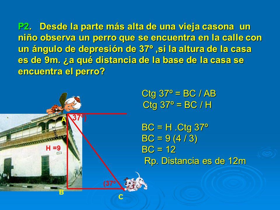 P2. Desde la parte más alta de una vieja casona un niño observa un perro que se encuentra en la calle con un ángulo de depresión de 37º,si la altura d