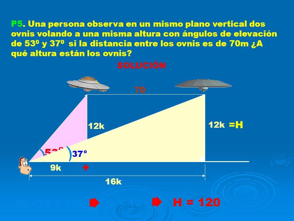 P5. Una persona observa en un mismo plano vertical dos ovnis volando a una misma altura con ángulos de elevación de 53 0 y 37 0 si la distancia entre