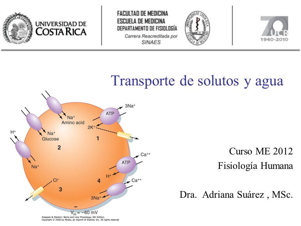 Transporte de solutos y agua Curso ME 2012 Fisiología Humana Dra. Adriana Suárez, MSc.