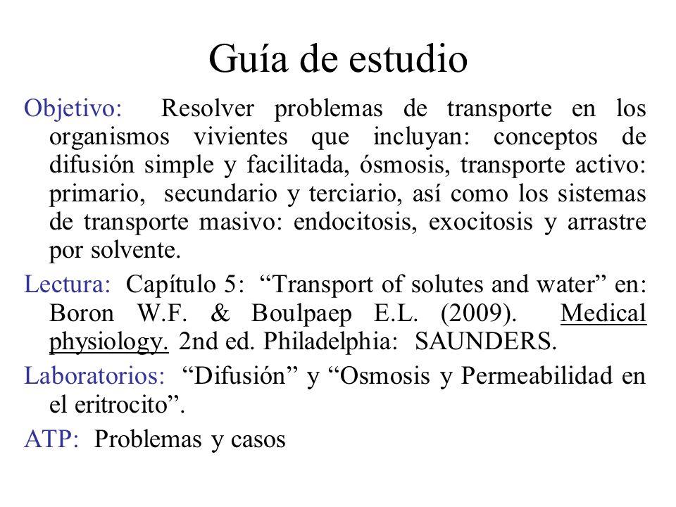 Guía de estudio Objetivo: Resolver problemas de transporte en los organismos vivientes que incluyan: conceptos de difusión simple y facilitada, ósmosi