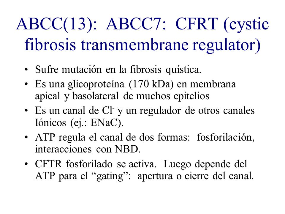 ABCC(13): ABCC7: CFRT (cystic fibrosis transmembrane regulator) Sufre mutación en la fibrosis quística. Es una glicoproteína (170 kDa) en membrana api