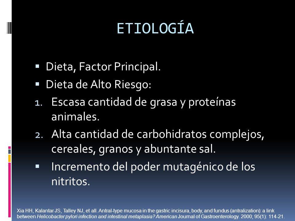 ETIOLOGÍA Dieta, Factor Principal. Dieta de Alto Riesgo: 1. Escasa cantidad de grasa y proteínas animales. 2. Alta cantidad de carbohidratos complejos