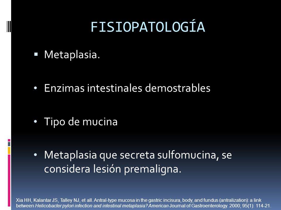 FISIOPATOLOGÍA Metaplasia. Enzimas intestinales demostrables Tipo de mucina Metaplasia que secreta sulfomucina, se considera lesión premaligna. Xia HH