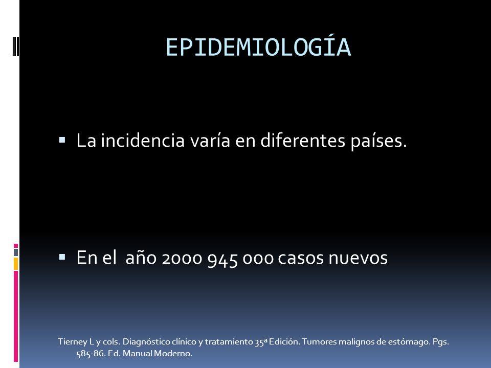 EPIDEMIOLOGÍA La incidencia varía en diferentes países. En el año 2000 945 000 casos nuevos Tierney L y cols. Diagnóstico clínico y tratamiento 35ª Ed