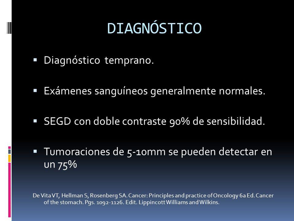DIAGNÓSTICO Diagnóstico temprano. Exámenes sanguíneos generalmente normales. SEGD con doble contraste 90% de sensibilidad. Tumoraciones de 5-10mm se p