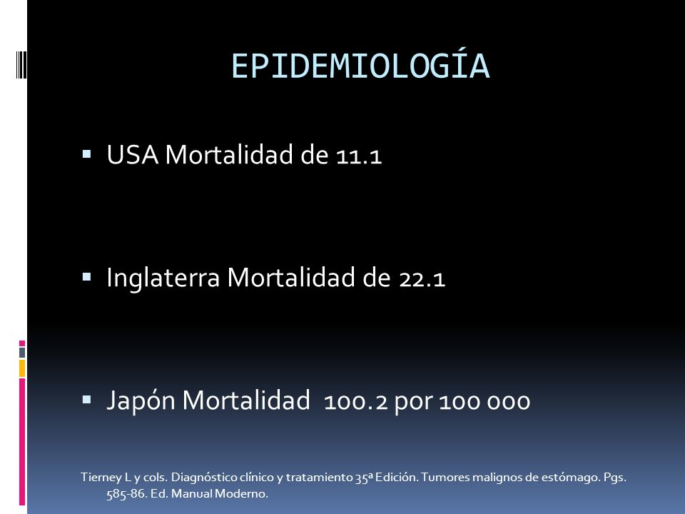 EPIDEMIOLOGÍA USA Mortalidad de 11.1 Inglaterra Mortalidad de 22.1 Japón Mortalidad 100.2 por 100 000 Tierney L y cols. Diagnóstico clínico y tratamie