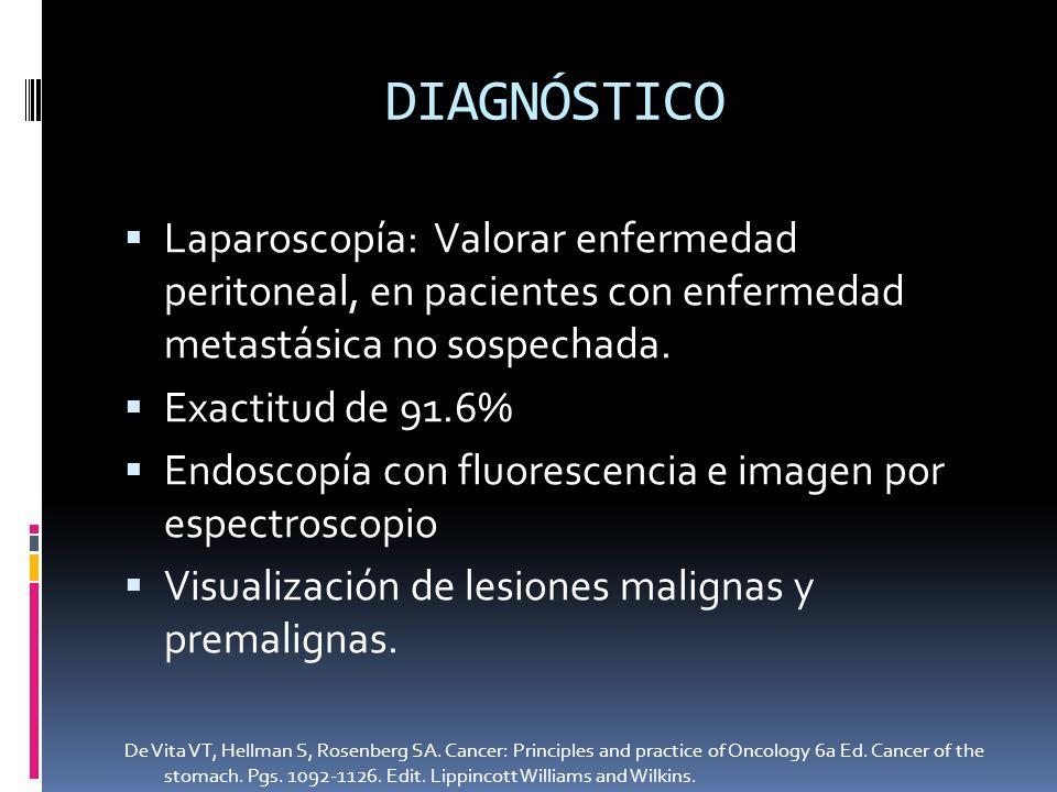 Laparoscopía: Valorar enfermedad peritoneal, en pacientes con enfermedad metastásica no sospechada. Exactitud de 91.6% Endoscopía con fluorescencia e