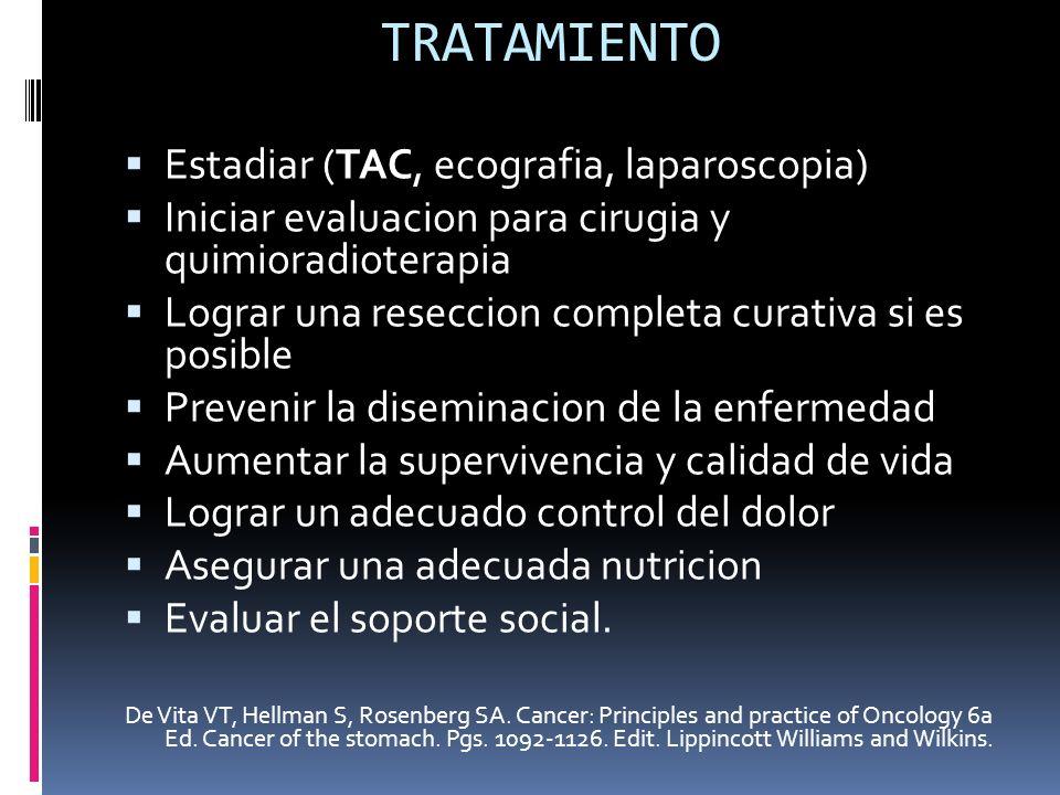 TRATAMIENTO Estadiar (TAC, ecografia, laparoscopia) Iniciar evaluacion para cirugia y quimioradioterapia Lograr una reseccion completa curativa si es