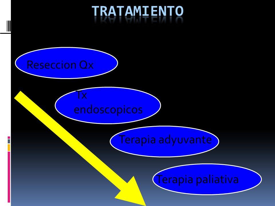 Reseccion Qx Tx endoscopicos Terapia adyuvante Terapia paliativa