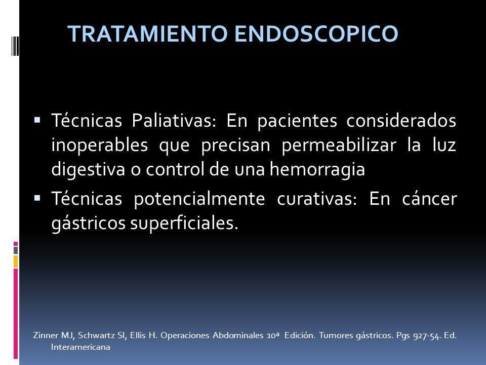 TRATAMIENTO ENDOSCOPICO Técnicas Paliativas: En pacientes considerados inoperables que precisan permeabilizar la luz digestiva o control de una hemorr