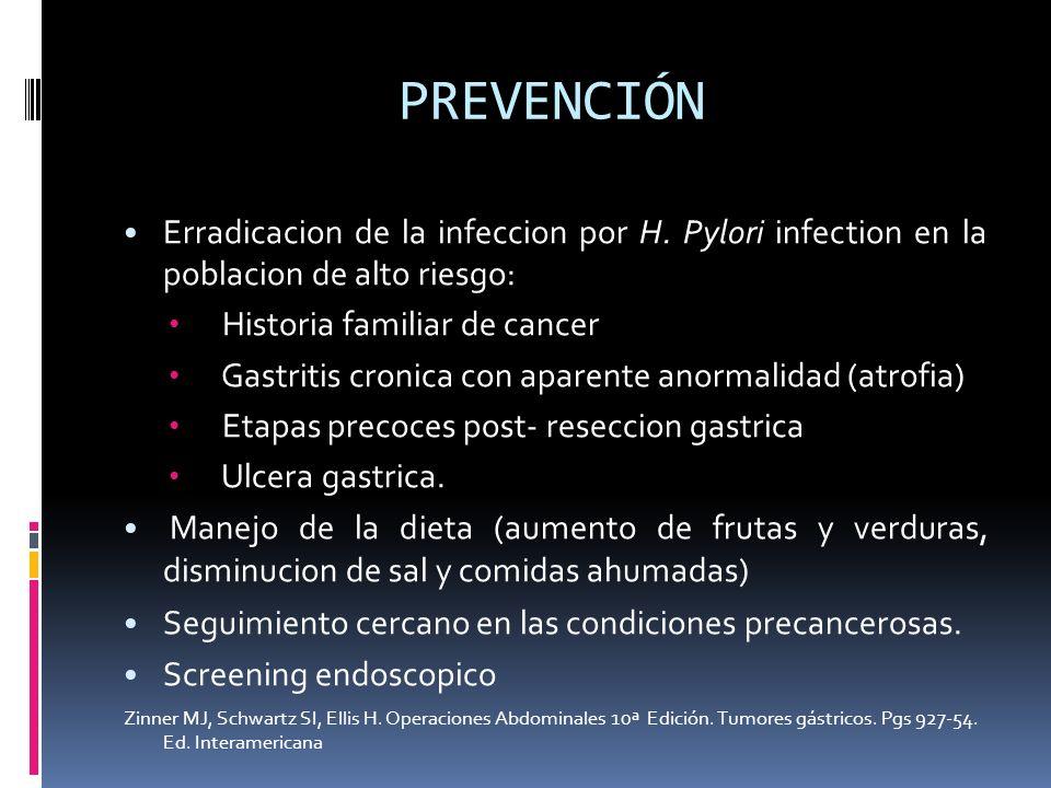 PREVENCIÓN Erradicacion de la infeccion por H. Pylori infection en la poblacion de alto riesgo: Historia familiar de cancer Gastritis cronica con apar