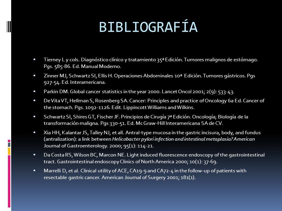 BIBLIOGRAFÍA Tierney L y cols. Diagnóstico clínico y tratamiento 35ª Edición. Tumores malignos de estómago. Pgs. 585-86. Ed. Manual Moderno. Zinner MJ