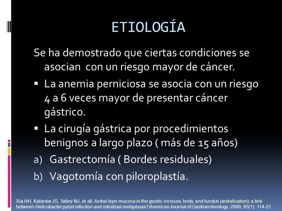 ETIOLOGÍA Se ha demostrado que ciertas condiciones se asocian con un riesgo mayor de cáncer. La anemia perniciosa se asocia con un riesgo 4 a 6 veces