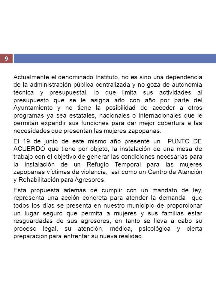 9 Actualmente el denominado Instituto, no es sino una dependencia de la administración pública centralizada y no goza de autonomía técnica y presupues